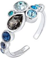 Elli Women Bezel Aqua Swarovski Crystals 925 Silver Adjustable Ring