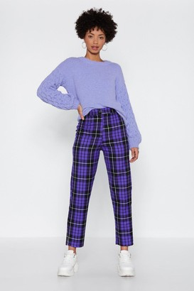 Nasty Gal Womens Check Up Time Plaid Trousers - Purple - 4