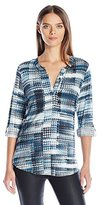 NYDJ Women's Knit Henley Blouse with Convertible Sleeve