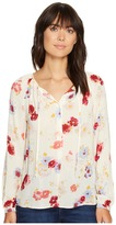 Lucky Brand Major Floral Peasant Top Women's Long Sleeve Button Up