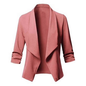 Auifor Women Cardigan Blazer Nice Stylish Long Sleeve Solid Colour Open Front Suit Coat Work Outwear(Pink XXXL)