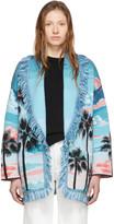 Alanui Multicolor Wool and Silk Sunset Landscape Cardigan
