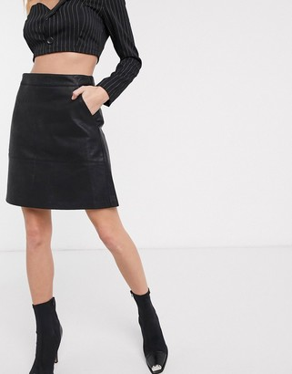 Only textured faux leather a line skirt-Black