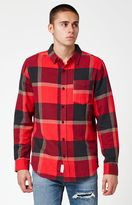 Modern Amusement Peak Plaid Flannel Long Sleeve Button Up Shirt