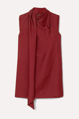 Ann Demeulemeester Draped Wool And Silk-blend Tank - Red