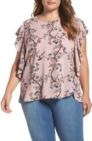 Bobeau Plus Size Women's Ruffle Sleeve Print Top