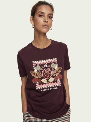 Scotch & Soda Embroidered short sleeve cotton t-shirt | Women
