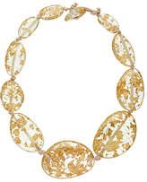 Jackie Brazil Riverstone Gold Flake Short Necklace, Gold