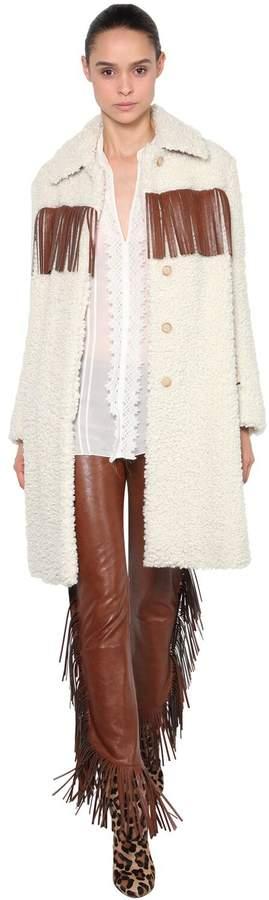 Giamba Faux Shearling Coat W/ Fringe