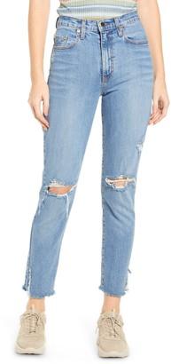Nobody Denim Kennedy High Waist Ripped Knee Raw Hem Jeans