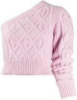 Wandering one shoulder cable knit jumper