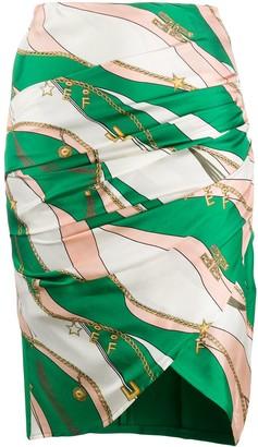 Elisabetta Franchi Graphic Print Asymmetric Skirt