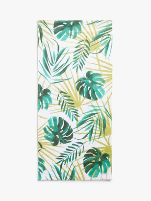 John Lewis & Partners Leaf Print Cotton Table Runner, L200cm, Green