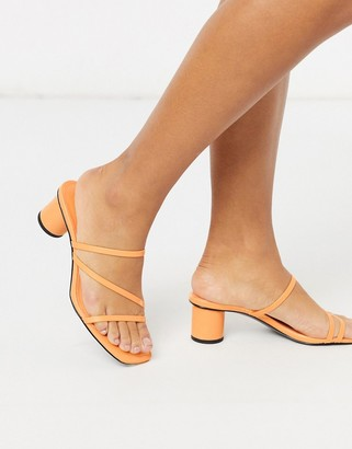 Monki Agnes minimal heeled sandal in orange