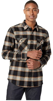 Brixton Bowery Long Sleeve Flannel (Black/Cream) Men's Long Sleeve Button Up