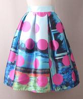 Adele Berto Women's Casual Skirts White - White & Pink Polka Dot Scene Pleated A-Line Skirt - Women
