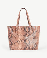 Ann Taylor Exotic Embossed Leather Buckle Tote