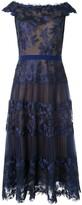 Tadashi Shoji off the shoulder sheer dress