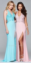 Faviana Multi Strap Rhinestone Embellished Fit and Flare Prom Dress