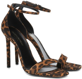 Saint Laurent Amber 105 leopard-print suede sandals