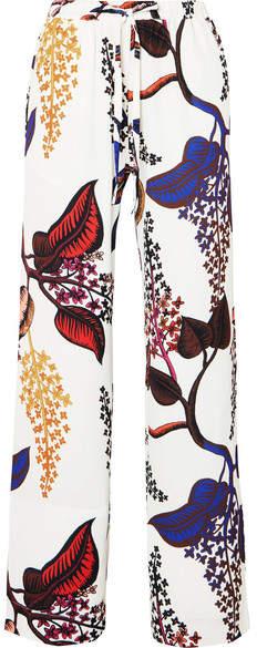 Stine Goya Aileen Floral-print Crepe Straight-leg Pants - White