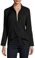 Halston Long-Sleeve Button-Front Silk Shirt