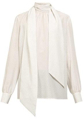 Fendi Polka Dot-print Tie-neck Silk Blouse - White