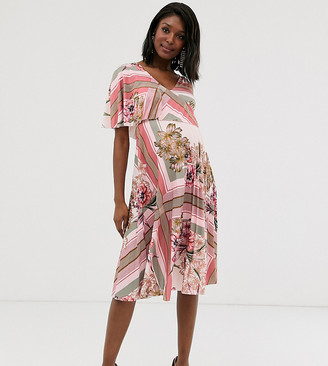 Asos DESIGN Maternity floral one shoulder pleated crop top midi dress-Multi