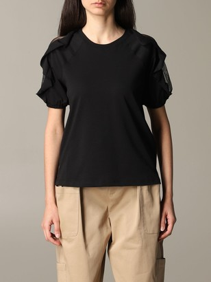 RED Valentino T-shirt Sweater With Sections In Point Desprit Tulle