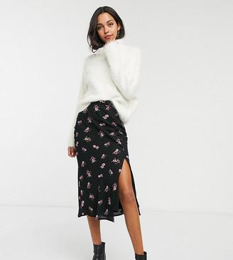Fashion Union Tall midi skirt in black floral