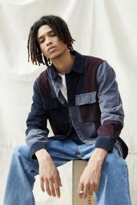 BDG Navy Patchwork Corduroy Shirt - Blue S at Urban Outfitters