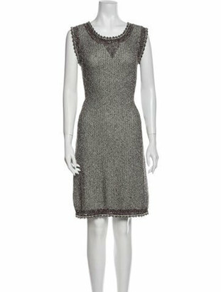 Fendi Scoop Neck Knee-Length Dress Brown