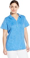 Caribbean Joe Women's Plus-Size Short Sleeve Cotton Jacquard Y Neck Polo