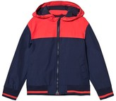 Cyrillus Navy and Red Hooded Windbreaker