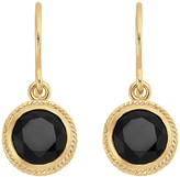 Anna Beck 18K Gold Plated Sterling Silver Black Onyx Stone Button Drop Earrings