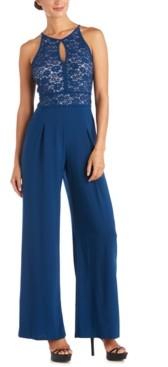 Night Way Nightway Petite Lace-Top Jumpsuit