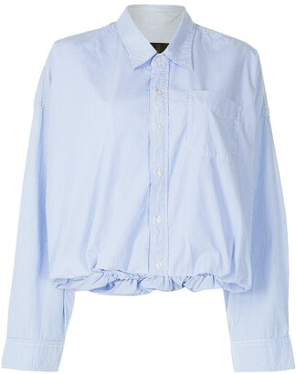 R 13 Cropped Pinstripe Shirt