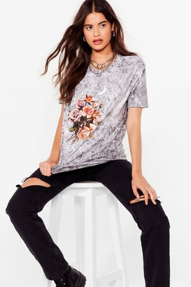 Nasty Gal Womens Doing Things Flower Way Acid Wash Graphic Tee - Black