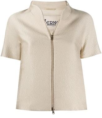 Herno Satin Cropped Zip Jacket