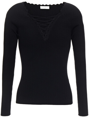 Sandro Lace-up Ribbed-knit Sweater