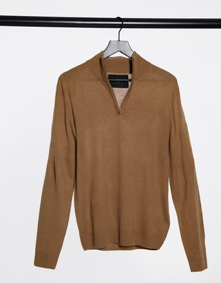 Soul Star half zip funnel neck knitted jumper in tan
