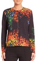 Escada Floral-Print Wool & Silk Cardigan
