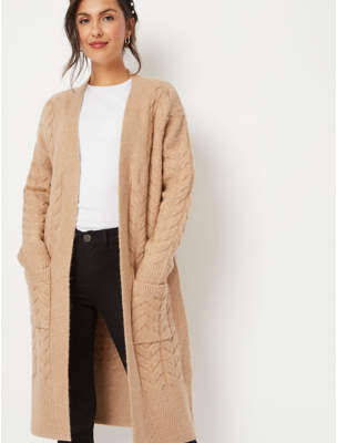 George Beige Cable Knit Longline Cardigan