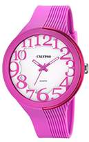 Calypso Women's Quartz Watch with White Dial Analogue Display and Pink Plastic Strap K5706/2