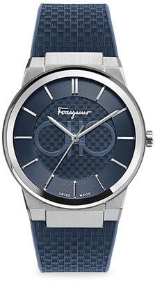 Salvatore Ferragamo Sapphire Stainless Steel & Rubber Strap Watch