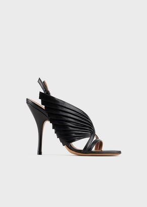 Emporio Armani High-Heeled Leather Sandals With Pleated Details