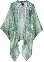 Anna Sui Embroidered Printed Silk-blend Kimono - Turquoise