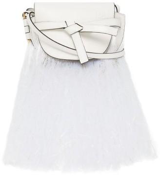 Loewe Gate Mini Fringed Leather Cross-body Bag - Womens - White