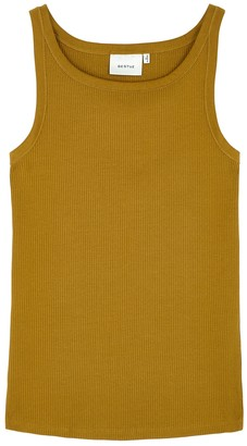 Gestuz Rollagz mustard stretch-cotton tank