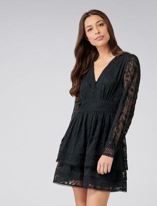 Forever New Marissa Lace Trim Dress - Black - 4